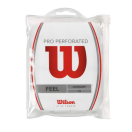 wilson - overgrip pro wilson perforated, 12buc/set, alb