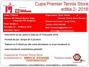 Cupa Premier Tennis Store Editia 2 2016